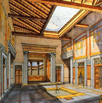 Het atrium van het huis van de faun - Het huis van de cabriolet ...